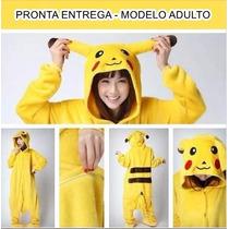 Pijama Adulto Macacão Plush Pokemon Pikachu Pronta Entrega