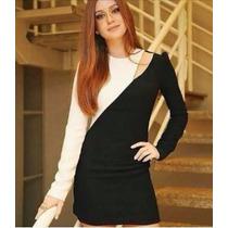 Vestido Em Viscolycra Preto E Branco, Manga Comprida, Justo