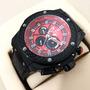 Relógio H-blot F1 Preto Mostrador Vermelho Borracha