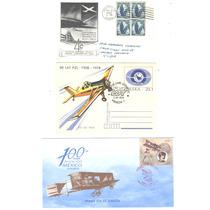 3 Postales Y Sobre De Aviones Con Sus Timbres Diferentes