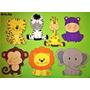 Animales De Selva En Goma Eva De 12cm Pack X 7