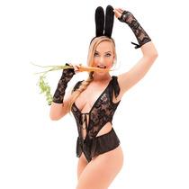 Fantasia Feminina Body Coelhinha Sexy Sensual Erótica