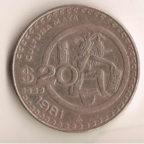 Moneda 20 Pesos Cultura Maya 1981