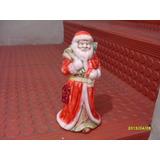 Papa Noel De Porcelana Esmaltada Antiguo Muy Bueno