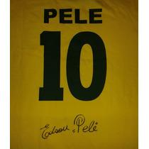 Jersey Firmado Edson Pele Brasil Mundial Mexico 70 Rarisimo