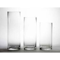 3 Cilindros De Cristal Más Espejo De Regalo, 20, 25 Y 30cm