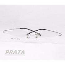 Armação Prata Sem Aro P/ Óculos De Grau Em Titânio Memory