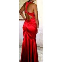 Vestido De Fiesta Largo Rojo Intenso Mujer Talle M