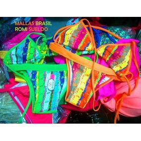 Mallas Brasil - Bikini -moda 2018 Bordada Brasilera
