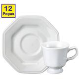 Kit 6 Xícaras + 6 Pires Chá Linha Prisma Schmidt Porcelana