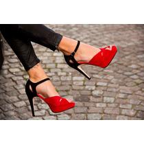 Zapatos Mujer Taco Fino. Fiesta, Moda. Gamuza Rojo Y Negro