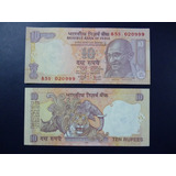 India Billete Mahatma Gandhi 10 Rupias Unc 2008