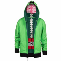 Sudadera Con Gorro Minecraft Creeper Premium Zip Up