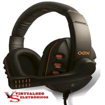 Fone De Ouvido Headset Oex Hs200 Action Gamer Som Hd Alta De