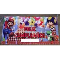 Lona Feliz Cumpleaños Fiesta Mario Bros 1 Metro X 1/2 Metro