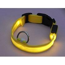Luces Led Parpadeante Collar De Perro De Nylon (amarillo,