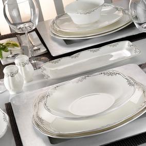Aparelho De Jantar Porcelana Square Bone / 50109 73 Peças