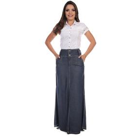 Saia Jeans Roupa Feminina Leve Tencel Longa Moda Evangelica