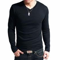 Camisa Camiseta Gola V Rasa Masculina 100% Algodão
