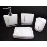 Lindo Kit Banheiro 4 Peças Acrílico Strass Branco Ou Preto