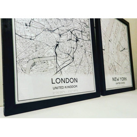 Cuadros Mapas Ciudades Del Mundo 40x50cm.