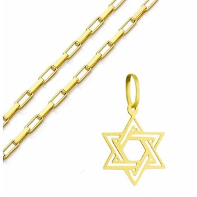 Corrente + Pingente Ouro 18k Estrela 6 Pontas - Viagold C72