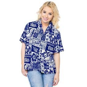Blusa Hawaiana La Leela Con Botones Para Mujer, Color Azul