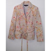 Saco Estampado Floral Talla S Satinado Blazer