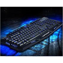 Kit Teclado Led Gamer Com Fio + Mouse Led 3200dpi Jogo Macro