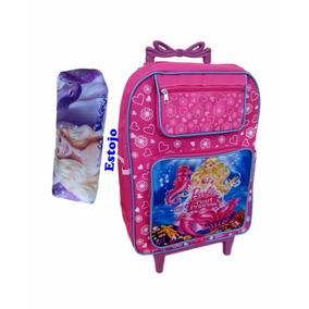 Mochila Escolar Infantil Princesa Barbie Rodinhas + Estojo