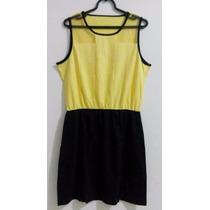 Vestido Cotton E Tule Frontal Em Amarelo E Preto Tam. Gg