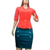 Conjunto Camisa E Saia Social Tafetá Moda Evangélica