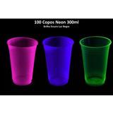 100 Copos Neon 300ml Brilha Escuro Luz Negra - Frete Gratis