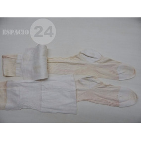 Medias Antiguas Seda/algodón Color Blanco P/portaligas