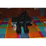 Botas Zapatos Cuero Mujer Negras 40 Piu Vicino Buen Estado