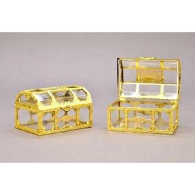 Mini Baú Acrilico Dourado Lembrancinha Pct 10 Unidades