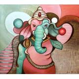 Cuadro Ganesha Dios Hindu,oleo S/tela, Pintura Original