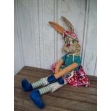 Antiguo Muñeco Conejo Paño Y Tela Relleno De Estopa