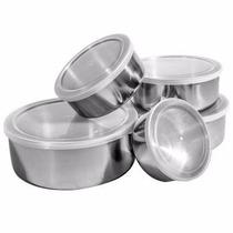 Conjunto De 5 Potes E Tigelas Mantimentos Inox Com Tampas