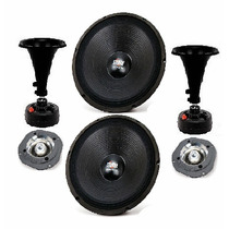 Kit 2 Woofer 12 150w + 2 Corneta 120w + 2 Super Tweeter