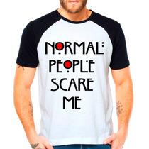 Camiseta Raglan Série American Horror Story Ahs Scare Me