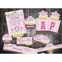 Kit Imprimible Caballito Balancin Carrusel Niña Vintage Baby