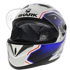 Capacete Fechado Shark Modelo S700 Guintoli Wbr Branco Azul
