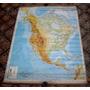 Mapa Antigua America De Norte, Fisico, Sobre Tela, Escolar