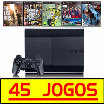 Ps3 Super Slim + Gta5 + The Last Of Us + Fifa 2017 +45 Jogos