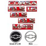 Kit Emblema Corsa Hatch Gls 1.6 Mpfi + Lateral Gls - 97 À 99