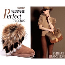Botas Brown Fashion Mujer Winter Ladies Ankle Flat Faux Fur