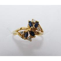 Anillo De Zafiros Y Diamantes Naturales, Oro Solido 14k