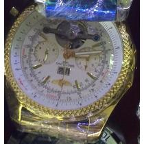 Relogio Luxo Re54 Bentl Breitl 1884 Quartz S/ Juros Dourado