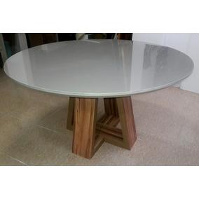 Mesa Jantar Redonda Design, Madeira Laca 1,40 X 1,40 Nova